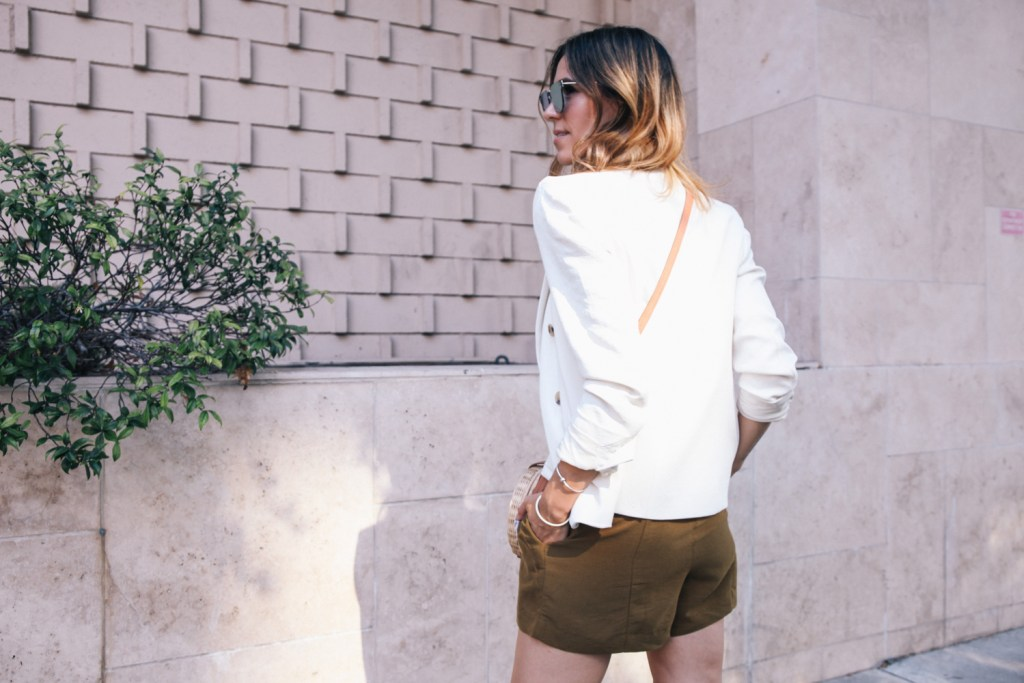 J.Crew white blazer and H&M high waisted shorts
