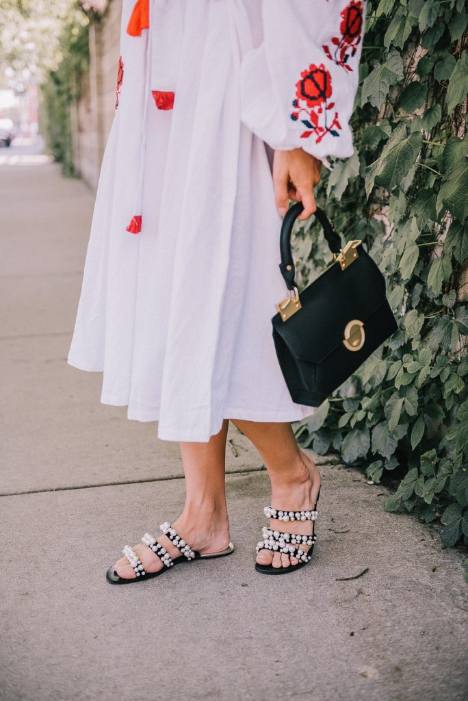 Blogger Mary Krosnjar wearing Zara pearl embellished sandals