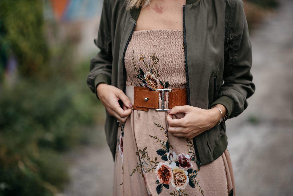 Shein Floral Tulip Hem Dress and Michael Kors Leather belt