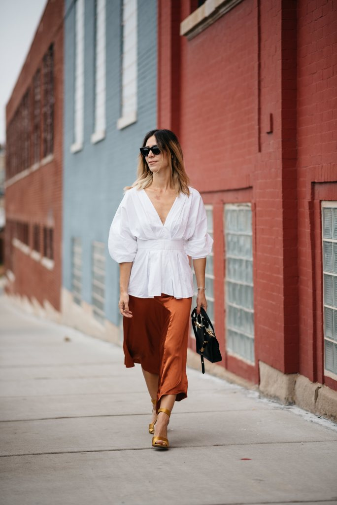Blogger Mary Krosnjar styling H&M Rust Satin Skirt