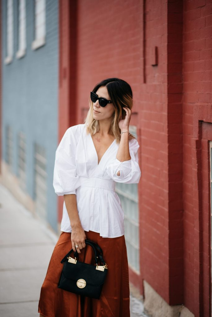 H&M White Oversized Blouse and Foley and Corina Black Bag