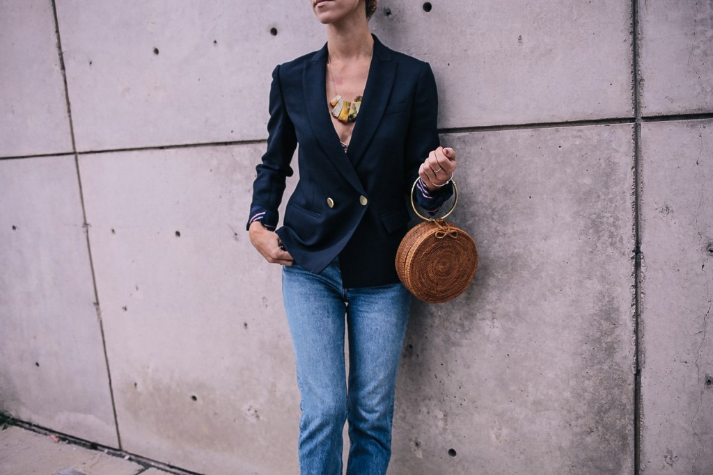 Blogger Mary Krosnjar wearing JCrew Wool Dover Blazer and high waisted denim