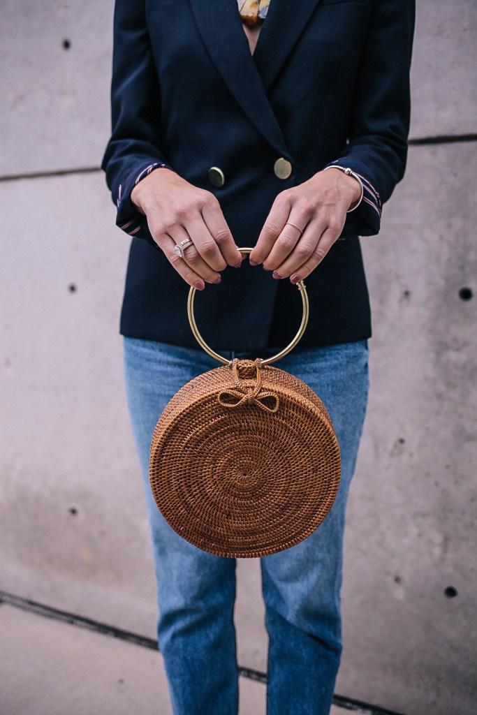 JCrew Wool Woven Blazer and 31 Bits Woven Bag