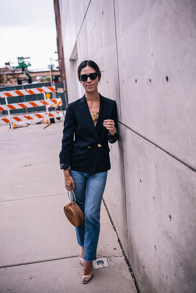 Blogger Mary Krosnjar wearing JCrew Wool Dover Blazer
