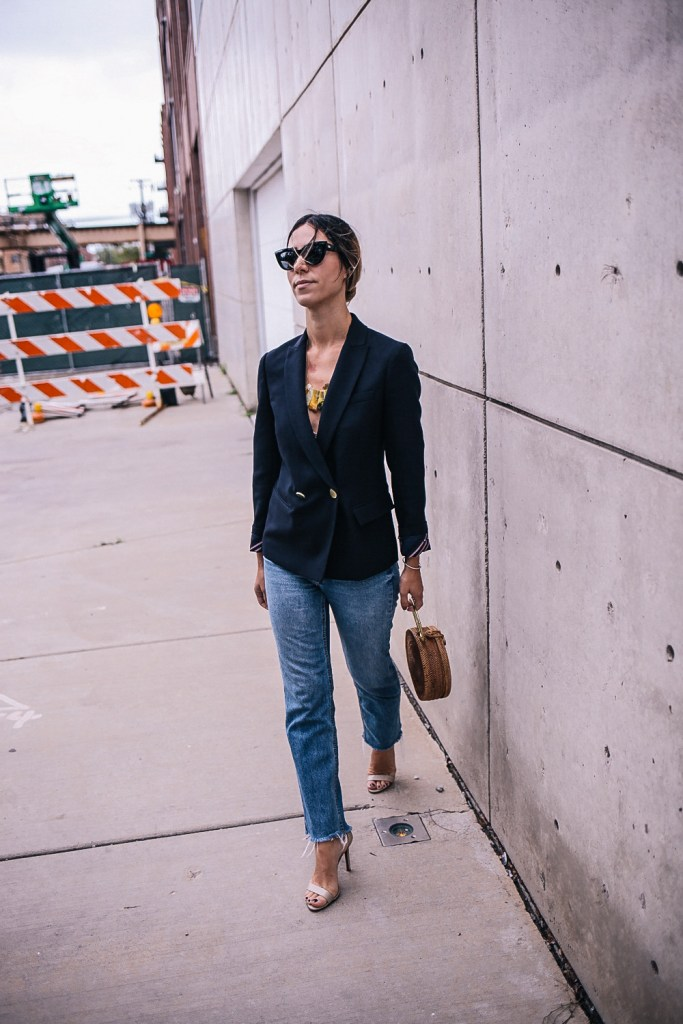 Blogger Mary Krosnjar wearing JCrew Wool Woven Blazer and Casey Schutz Sandals