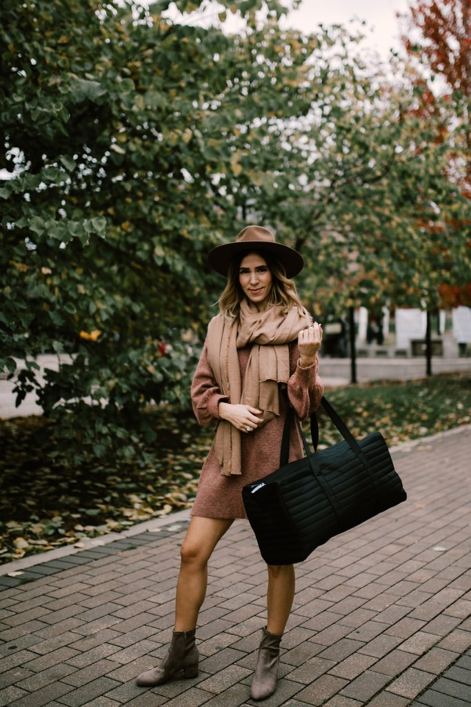 Blogger Mary Krosnjar wearing Topshop Sweater Dress, Zara Blanket Scarf and Women's Myllo Bootie