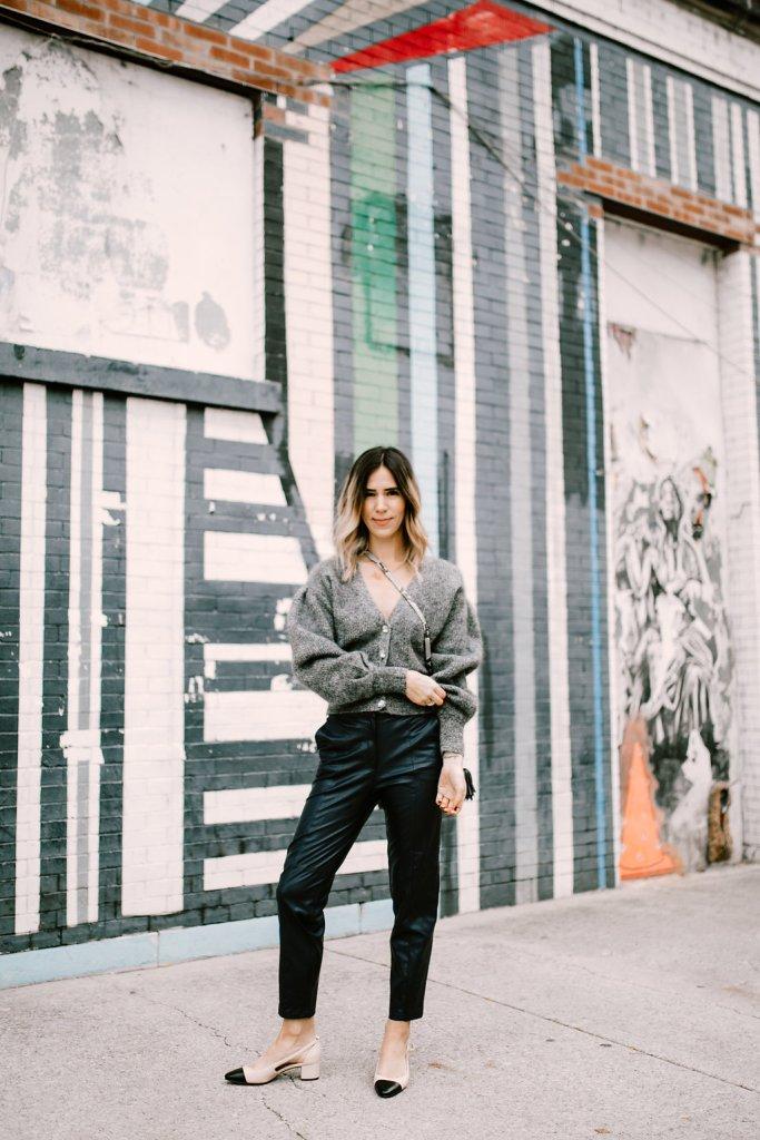 Blogger Mary Krosnjar wearing Fabulous Faux Leather Pants and Sam Edelman Cap Toe Flats