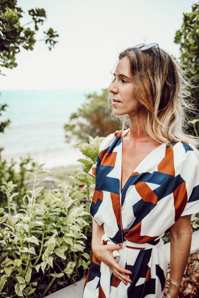 Blogger Mary Krosnjar wearing Geometric Print Split Maxi Dress and Zanzibar hotel review
