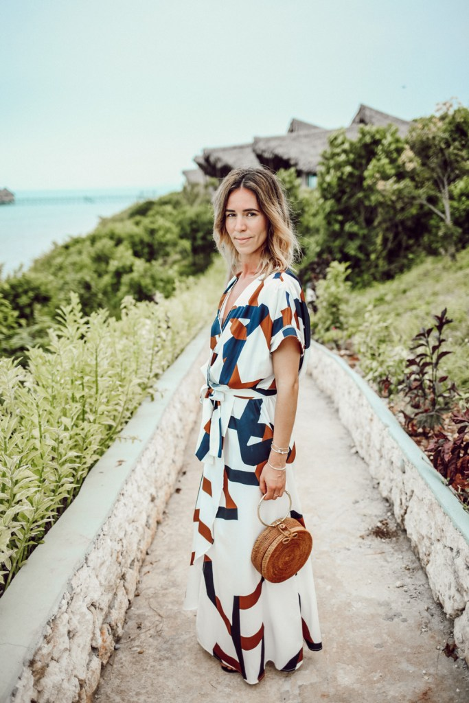 Blogger Mary Krosnjar Geometric Print Split Maxi Dress and Zanzibar hotel