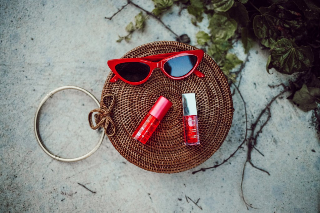 Clarins Ultimate Lip Challenge and Red Cat Eye Sunglasses