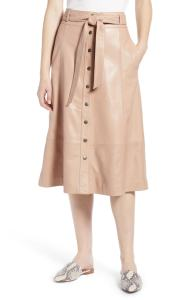 Halogen® Button Front Leather Midi Skirt