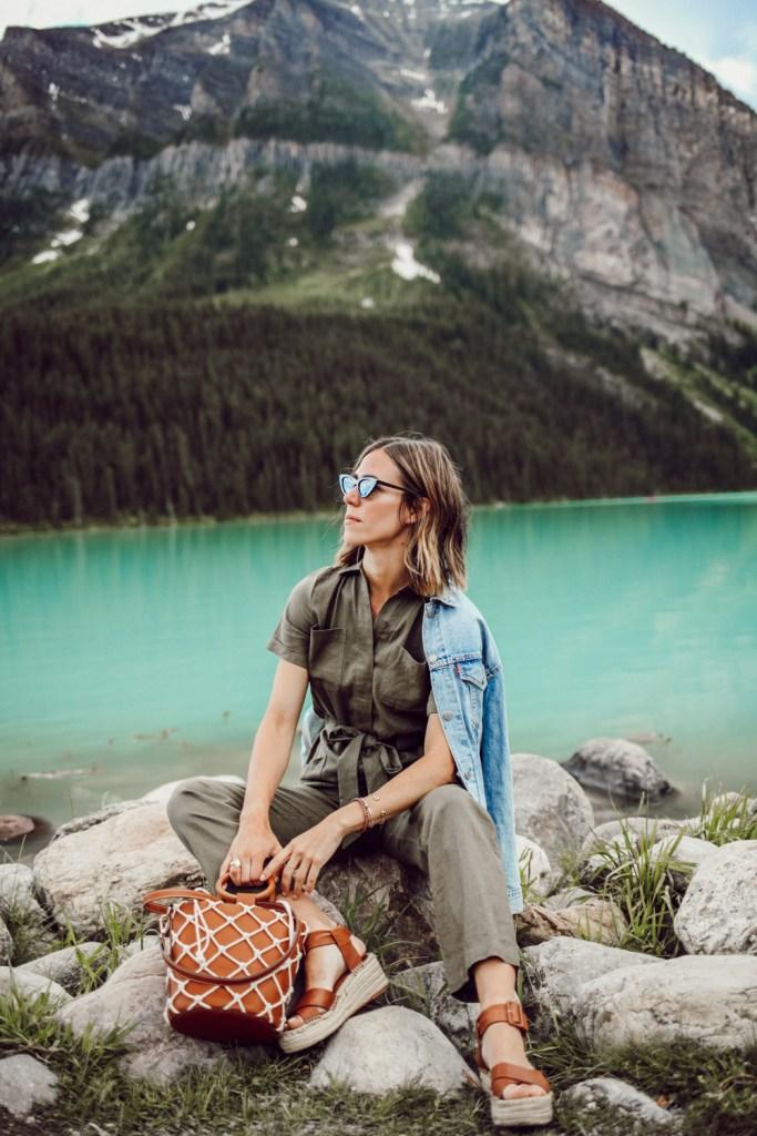 Blogger Mary Krosnjar wearing Women's Boiler Suit Coveralls and Net Bag