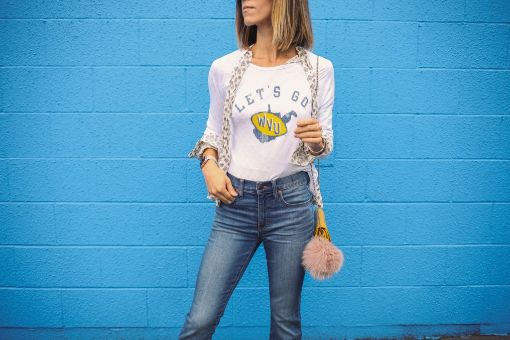 Blogger Mary Krosnjar wearing Original Retro Brand West Virginia Top and Madewell Cali Demi Boot Jeans