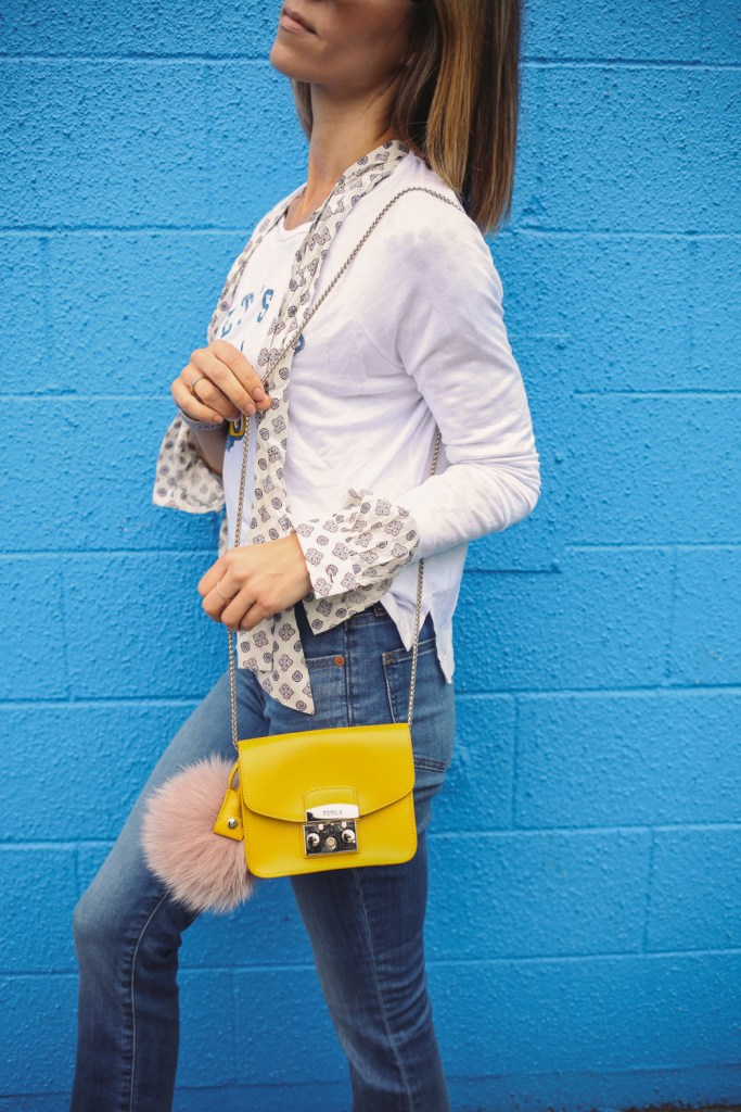 Blogger Mary Krosnjar wearing Furla Metropolis Mini Cross Body Bag and Madewell Cali Demi Boot