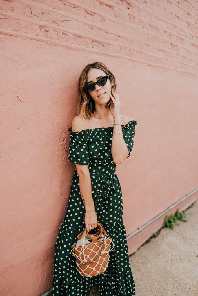 Blogger Mary Krosnjar wearing Polka Dot Fall Maxi Dress and Zara Cat Eye Sunglasses
