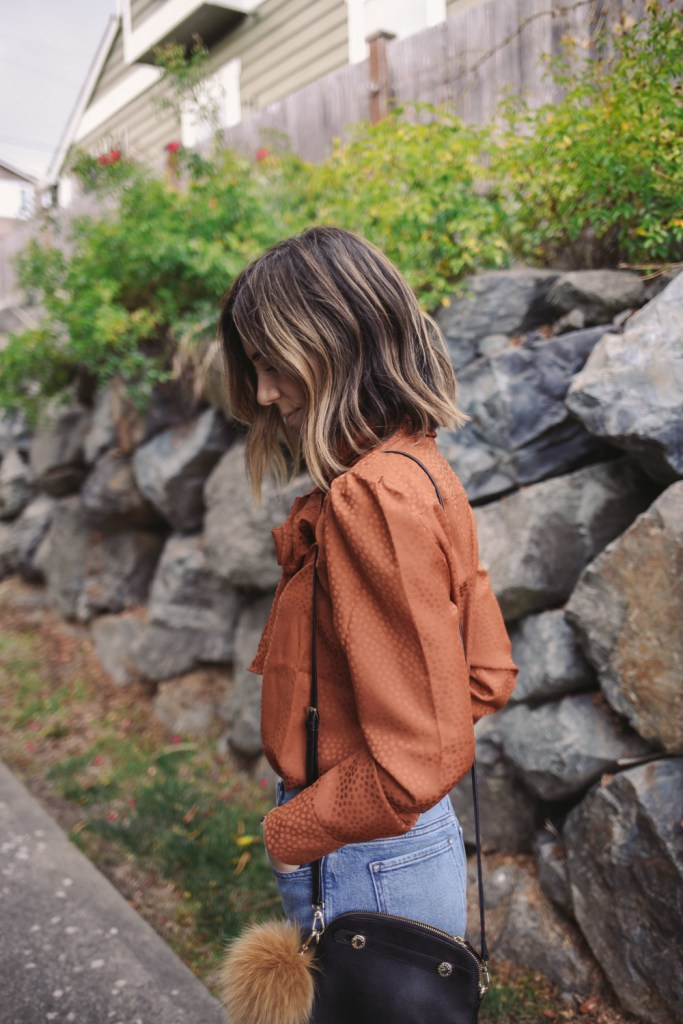 Blogger Mary Krosnjar wearing Tie Neck Blouse from Ann Taylor and Short Hair Bayalage