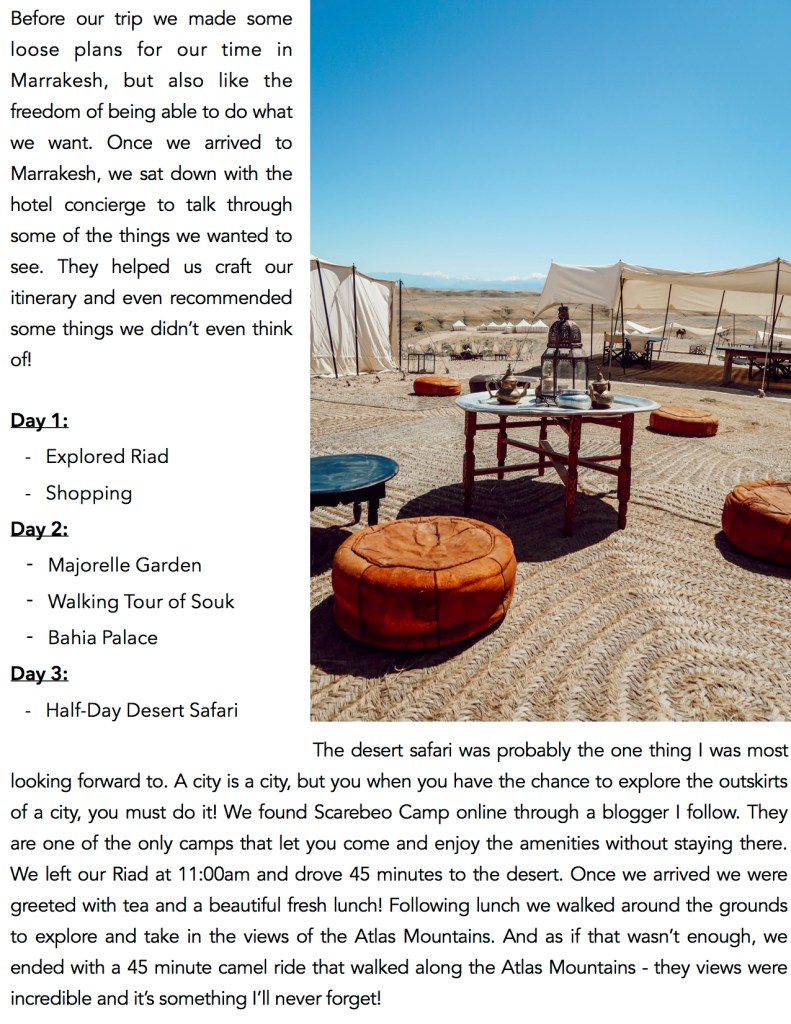 Blogger Mary Krosnjar sharing three day Marrakech Itinerary