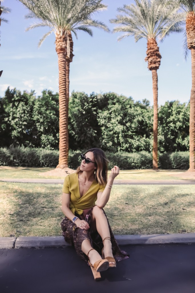 Blogger Mary Krosnjar wearing J.O.A Cropped Wrap Top and BA&SH Dalva Maxi Skirt