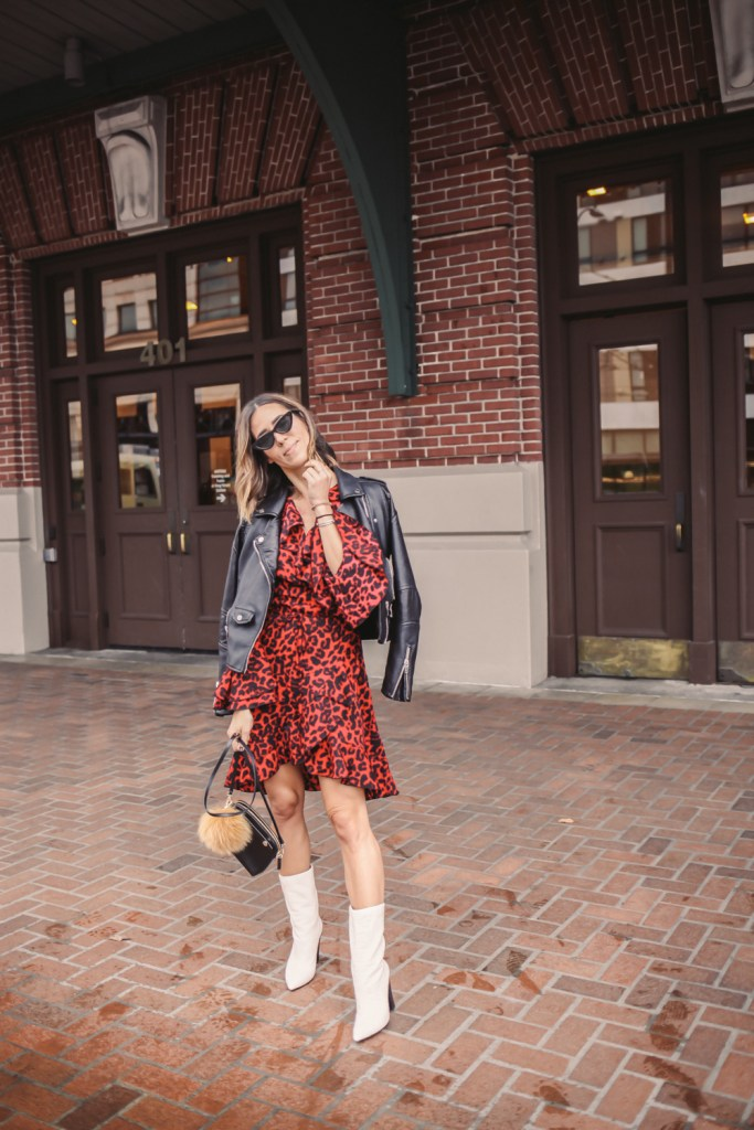 Blogger Mary Krosnjar wearing Leopard Print Ruffle Trim Wrap Dress