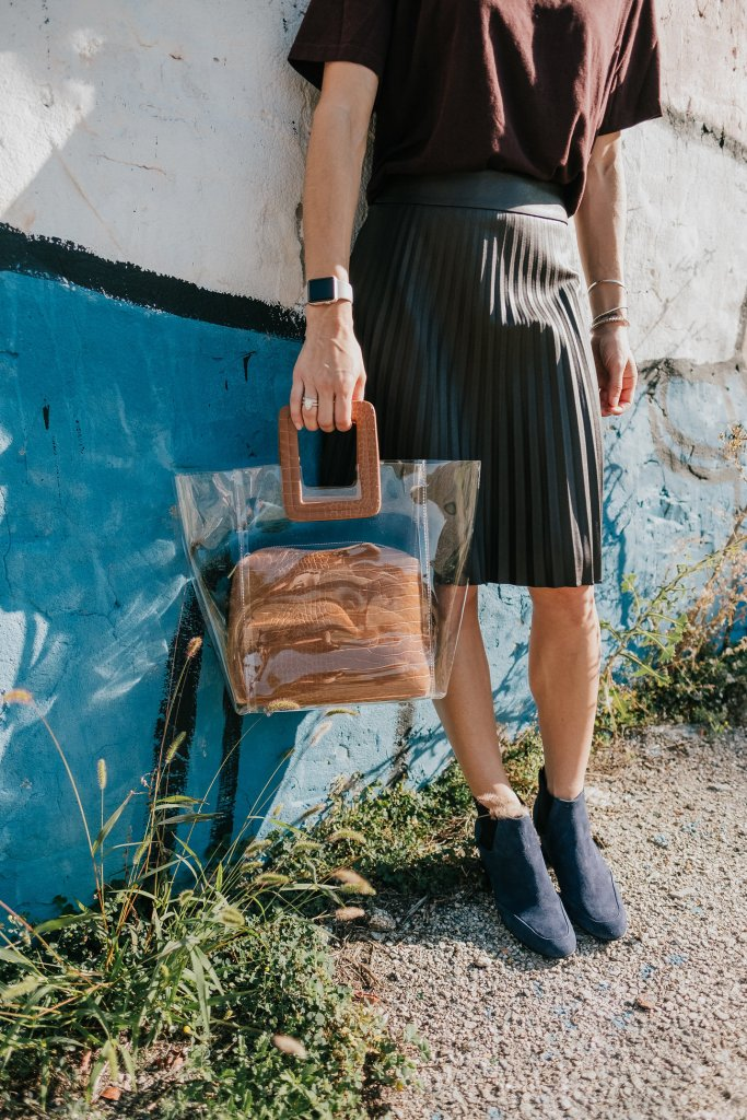 Blogger Mary Krosnjar wearing clear bag and Naturalizer Navy Suede Booties