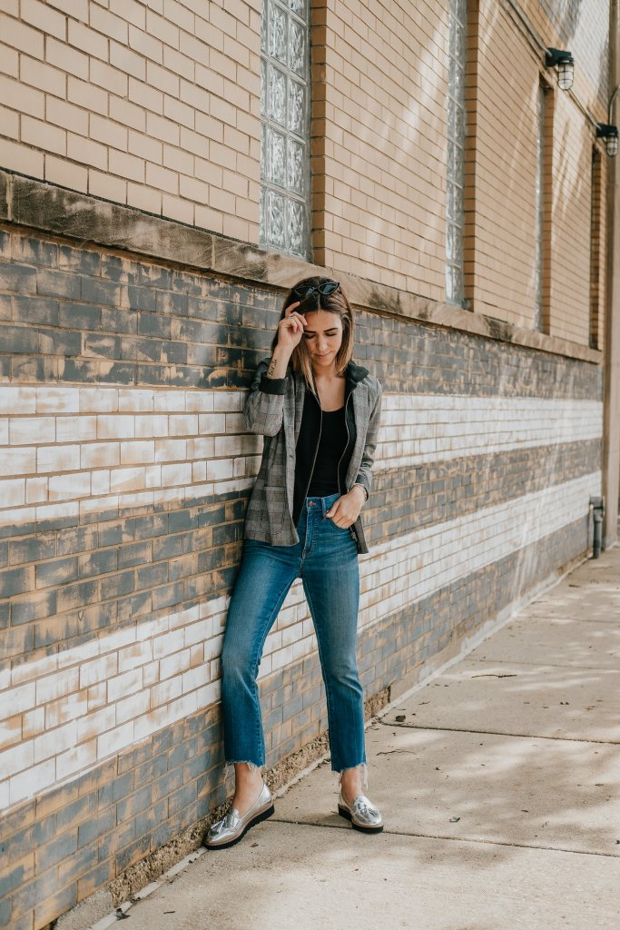Blogger Mary Krosnjar wearing Wild Fable Plaid Hooded Layered Blazer Jacket and Madewell Cali Demi Boot