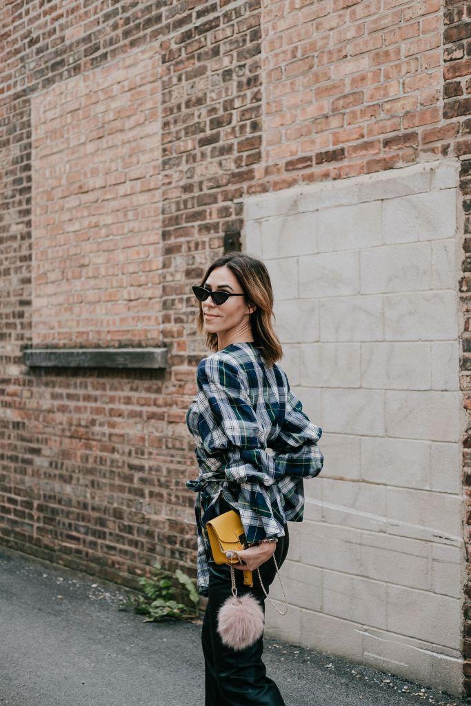 Blogger Mary Krosnjar wearing Petersyn Puff Sleeve Wrap Top