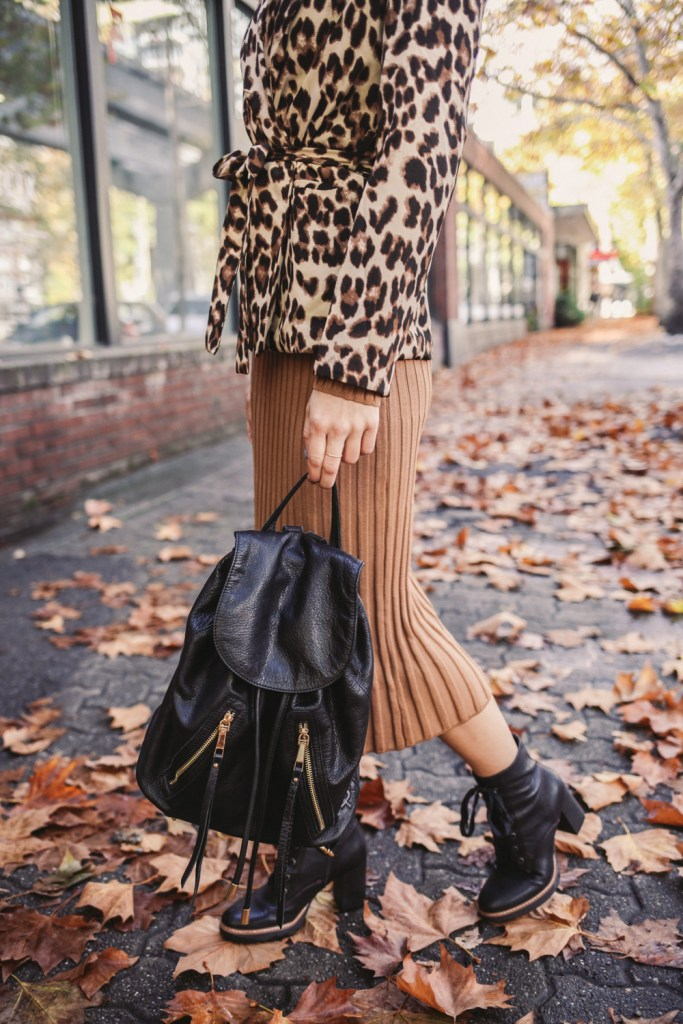 Blogger Mary Krosnjar wearing Ribbed Midi Turtleneck Sweater Dress and Linea Pelle Leather Backpack