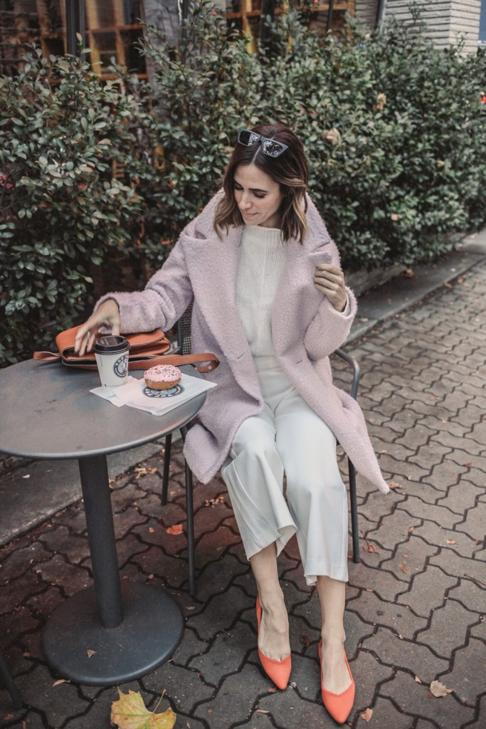 Blogger Mary Krosnjar wearing Halogen Purple Pile Coat and Wide Leg White Pants