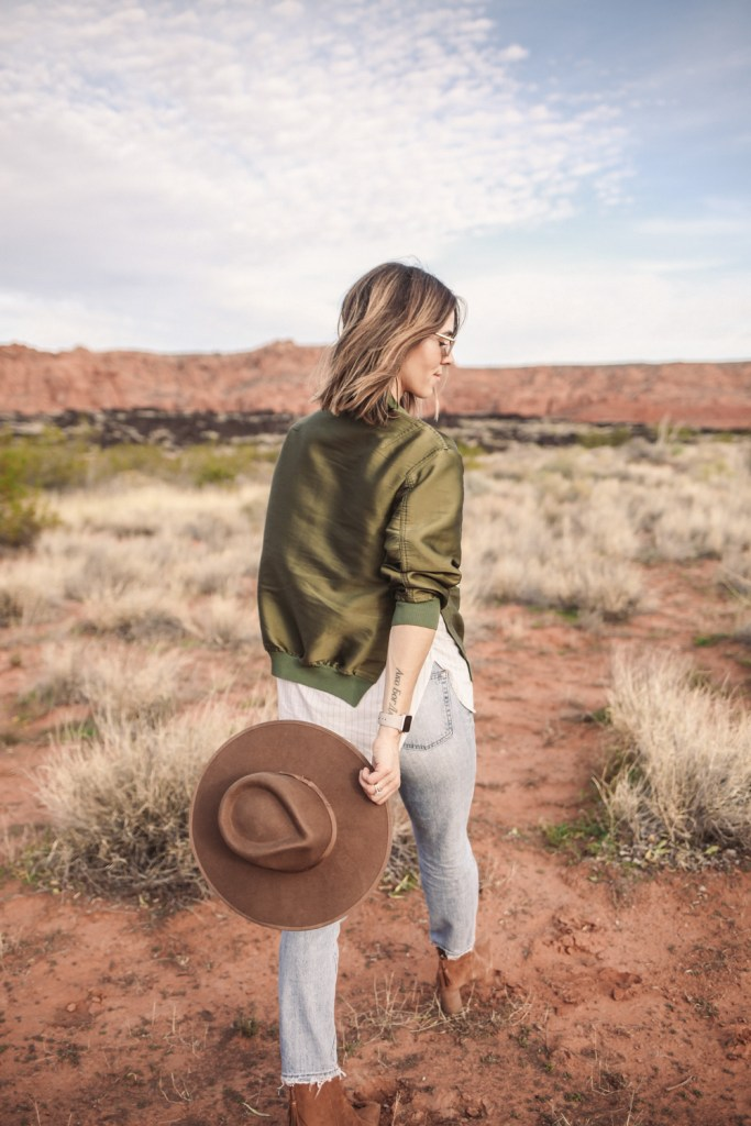 Blogger Mary Krosnjar wearing Brixton Wide Brim Hat and 3.1 Phillip Lim Bomber Jacket