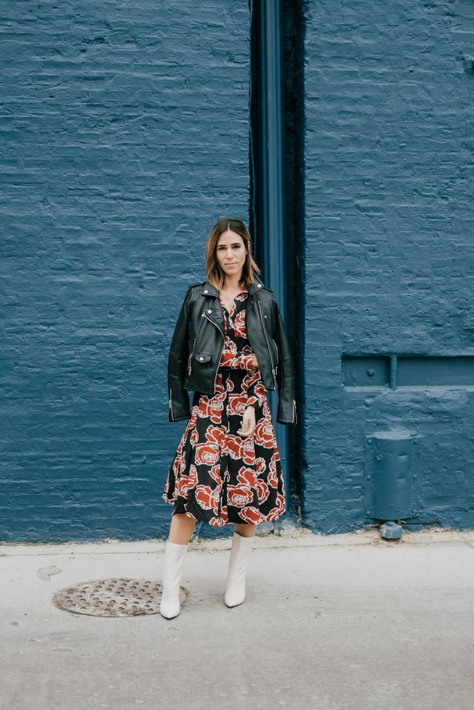 Blogger Mary Krosnjar wearing Blank NYC Denim Faux Leather Jacket and Target Who What Wear Floral Midi Dress