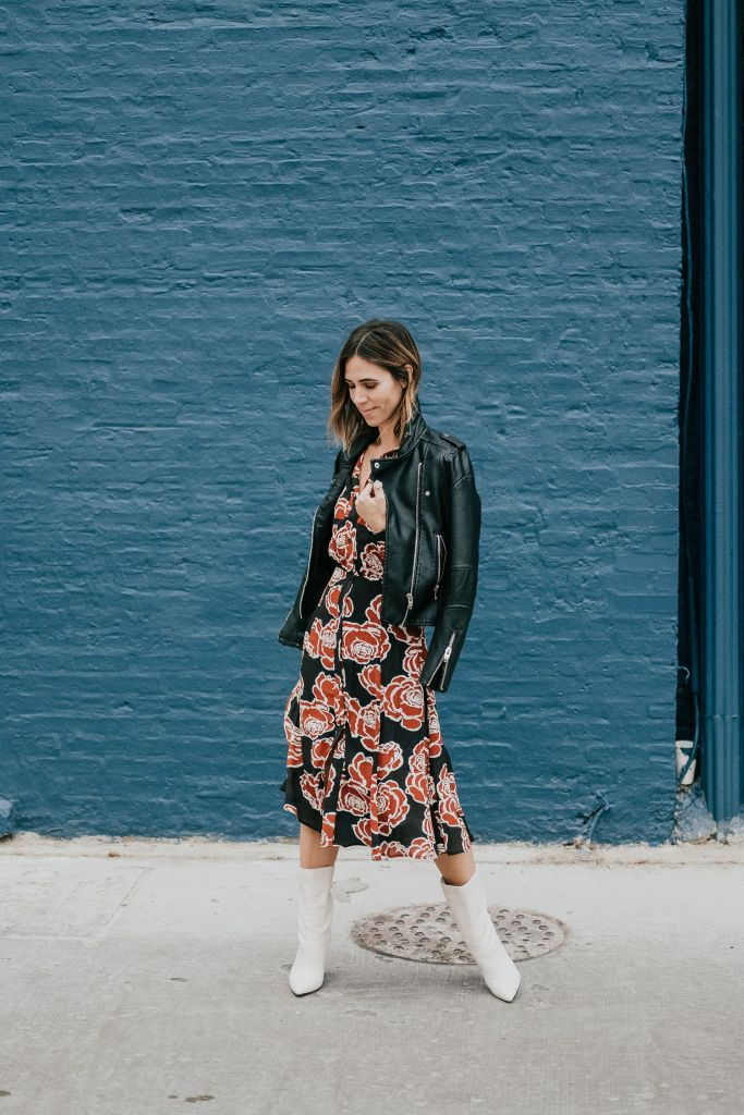 Blogger Mary Krosnjar wearing Blank NYC Faux Leather Jacket and Who What Wear Midi Dress