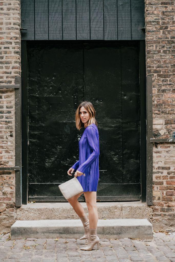 Tibi Purple Mini Dress and Nude Sock Like Booties