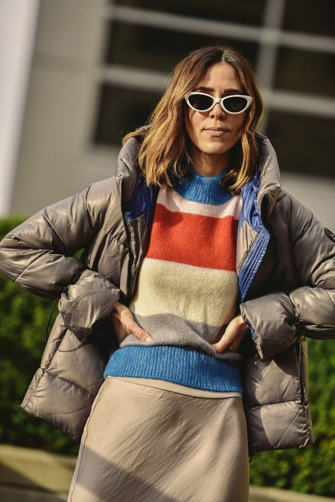 Blogger Mary Krosnjar and Seattle Stylelogue wearing Nordstrom Signature Striped Sweater and BP. 51mm Cat Eye Sunglasses