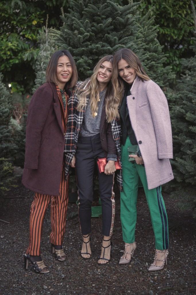 Blogger Mary Krosnjar wearing Purple Teddy Coat and Velvet Stipe Satin Pants