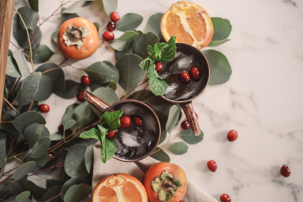 Blogger Mary Krosnjar sharing Holiday Cocktail Recipe Ideas