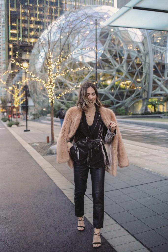 Blogger Sportsanista wearing Ann Taylor Velvet Belted Blazer and Faux Fur Coat