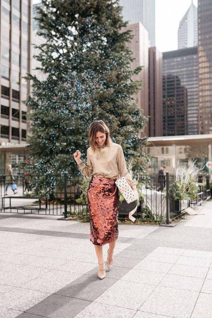 Seattle Fashion Blogger wearing Who What Wear Long Sleeve Metallic Pullover and Halogen Sequin Skirt