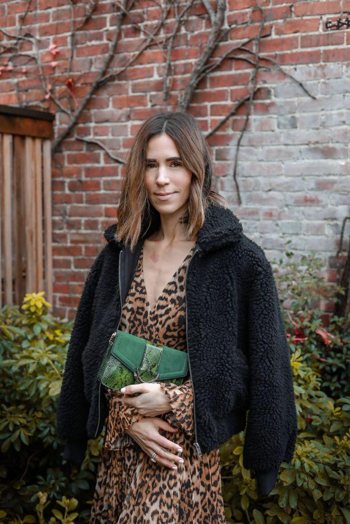 Blogger Mary Krosnjar wearing Who What Wear Womens Teddy Jacket and Topshop Sela Crossbody Bag