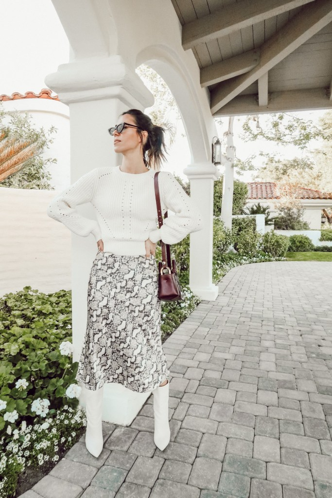Blogger Sportsanista wearing Snake Print Calf Length Skirt and Women's LC Lauren Conrad Fuzzy Balloon-Sleeve Sweater
