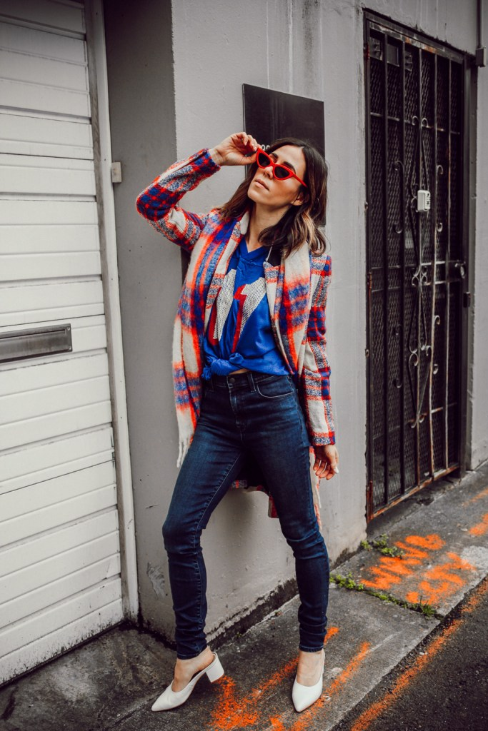 Blogger Sportsanista wearing J Brand Photo Read HD pants and Red Cat Eye Sunglasses