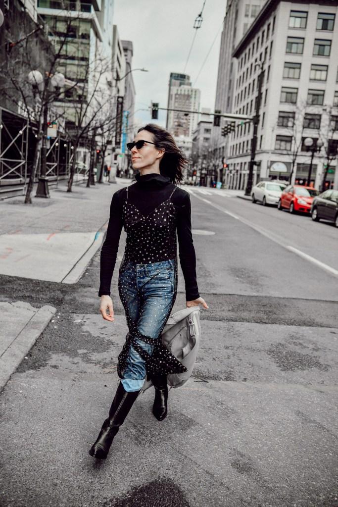 Blogger Sportsanista wearing Chelsea28 Glitter Star Sheer Full Slip and Everlane The Pima Micro Rib Turtleneck