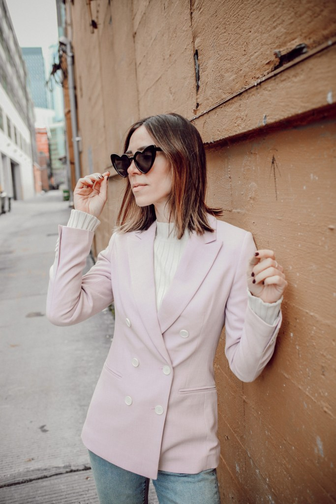 Seattle Fashion Blogger wearing Heart Shaped Sunglasses and H&M Double Breasted Coat