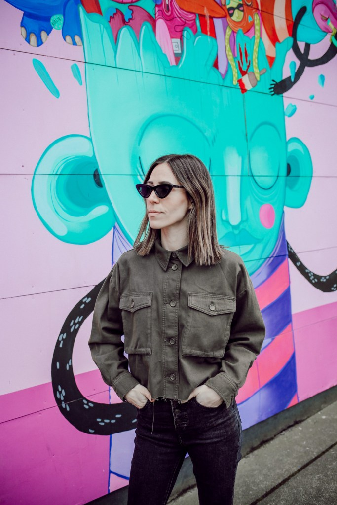 Seattle Fashion Blogger Mary Krosnjar wearing Topshop Sonny Raw Hem Crop Jacket and Cat Eye Sunglasses