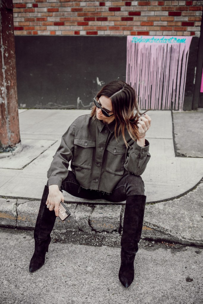 Seattle Fashion Blogger Mary Krosnjar wearing the best $10 sunglasses from Amazon and Express suede slouchy boots