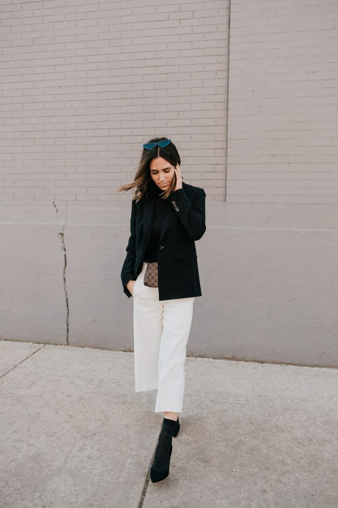 Seattle Fashion Blogger Sportsanista wearing Black Blazer, White Wide leg pants and black suede pumps