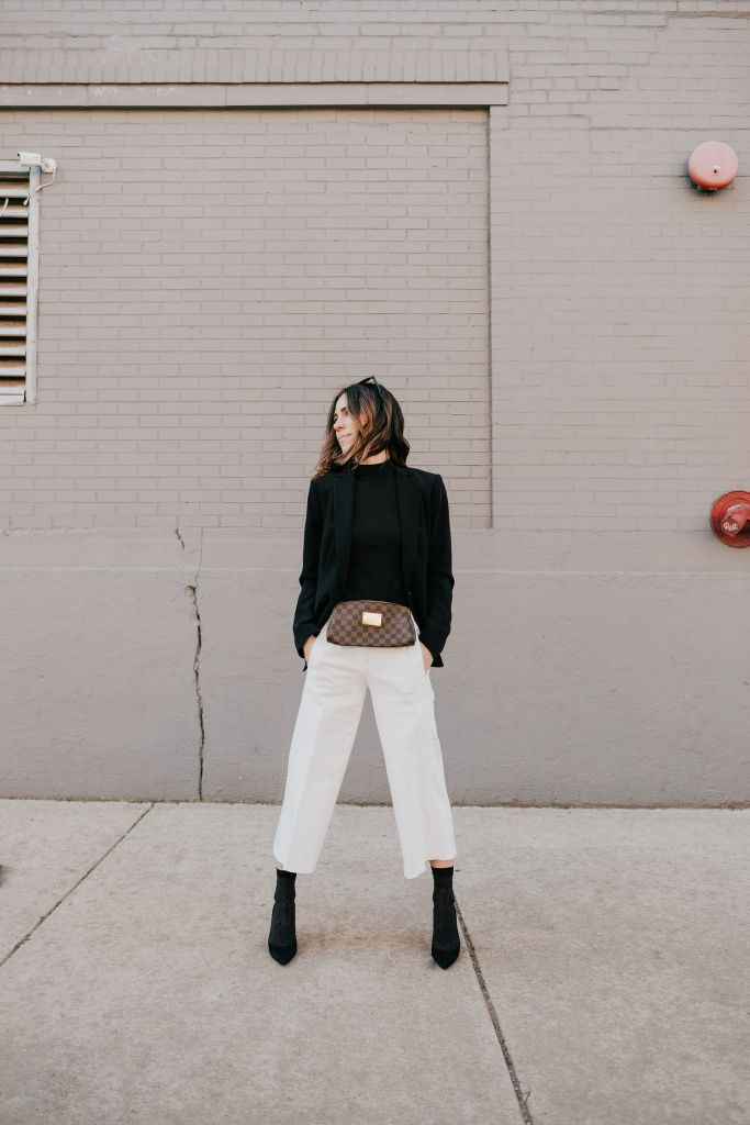 Seattle Fashion Blogger Sportsanista wearing Long Black Blazer with Black Mock Neck Sweater Shell