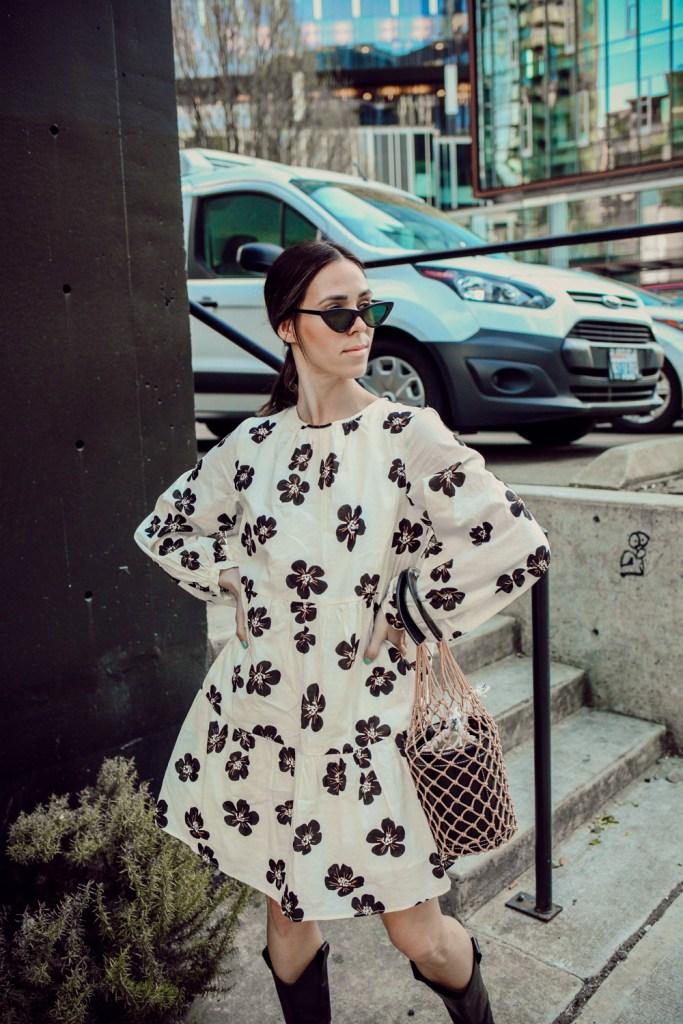 Seattle Fashion Blogger Sportsanista Who What Wear Smock Dress and Amazon Fashion Net Bag