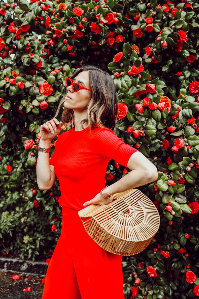Seattle Fashion Blogger wearing Red Cat Eye Sunglasses and Bamboo Bag
