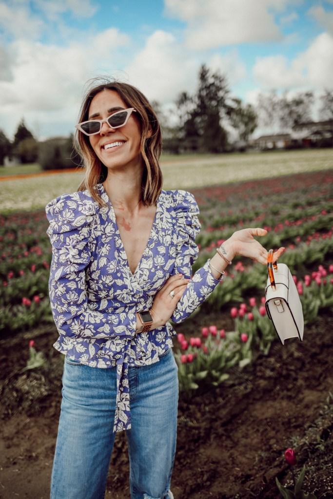 Seattle Fashion Blogger Sportsansita wearing ASTR Puff Sleeve Floral Wrap Top and Topshop Capri Buckle Crossbody Bag