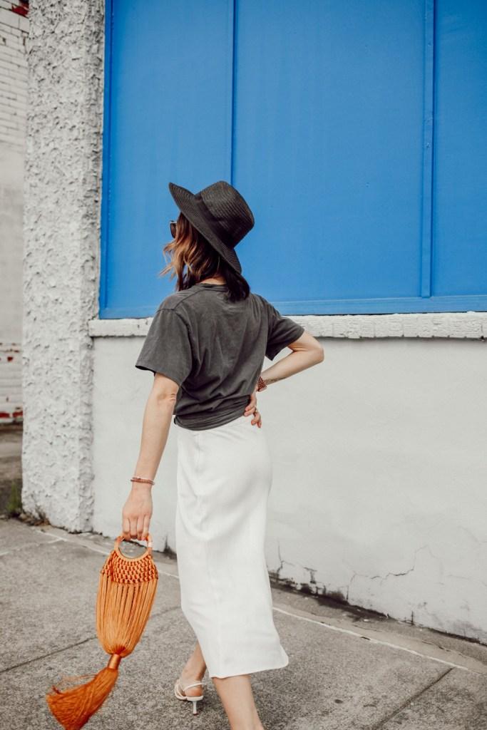 Seattle Fashion Blogger Sportsanista wearing Topshop Split Side Bias Midi Skirt and H&M Black Straw Hat
